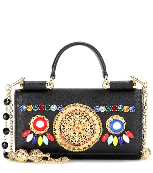 569a71e00ea Dolce & Gabbana Sicily Von Bag Embellished Leather Smartphone Shoulder Bag