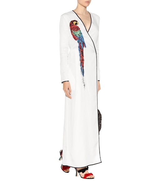 Attico - Raquel parrot-embellished wrap dress - mytheresa.com