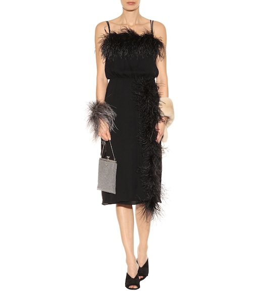 Prada - Feather-trimmed silk dress - mytheresa.com