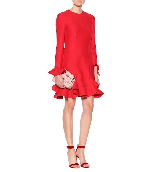 Valentino - Virgin wool and silk flounce dress - mytheresa.com
