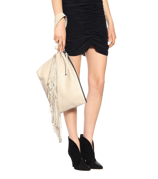 Isabel Marant - Farwo fringe-trimmed suede pouch - mytheresa.com