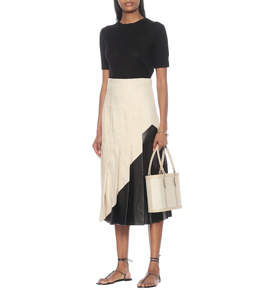Joseph - Saar Shantung linen and leather skirt - mytheresa.com