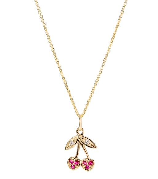Sydney Evan - Small Cherry charm 14kt gold necklace with ruby and brilliant diamonds - mytheresa.com