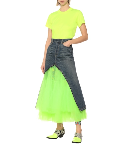 Junya Watanabe - Denim and tulle midi skirt - mytheresa.com