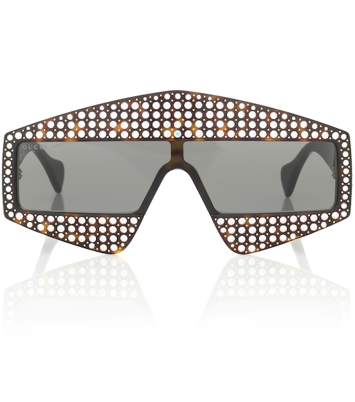 Gucci - Embellished rectangular sunglasses - mytheresa.com