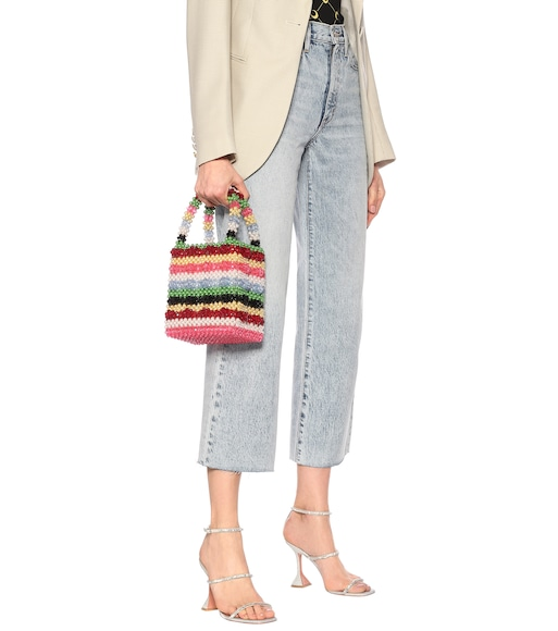 Shrimps - Antonia striped beaded tote - mytheresa.com