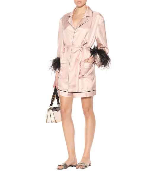 Prada - Feather trimmed silk shirt - mytheresa.com