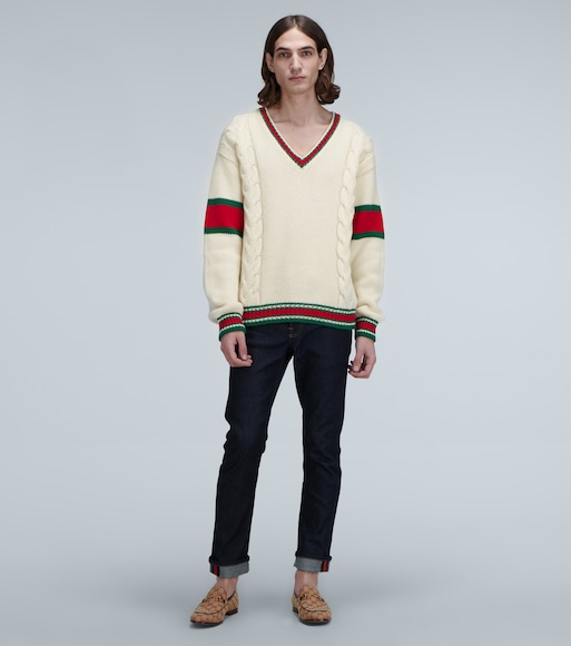 Gucci - Cable V-neck Cricket knitted sweater - mytheresa.com