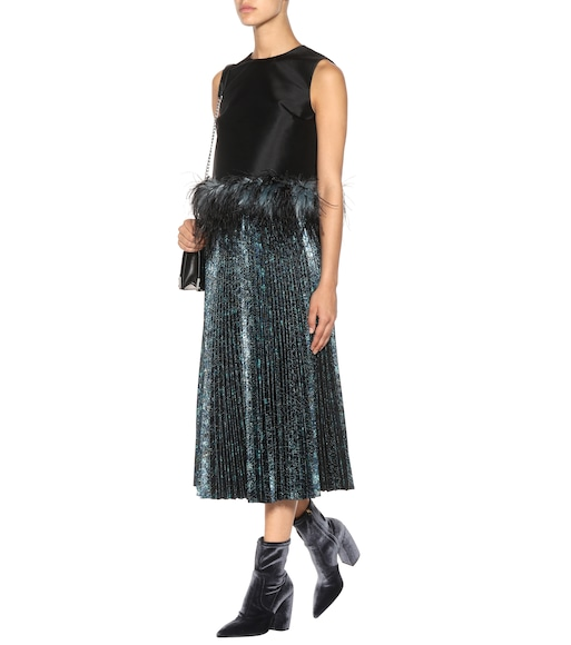 Prada - Wool and silk feather-trimmed top - mytheresa.com