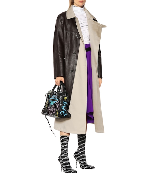Balenciaga - Leather and canvas coat - mytheresa.com