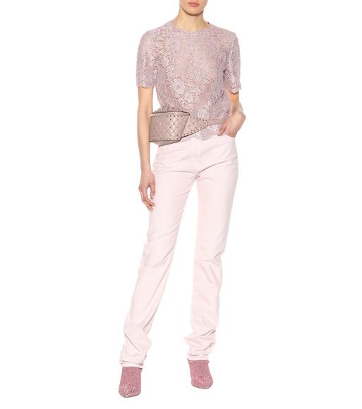 High-waisted slim-straight jeans Valentino Ix16Lgil