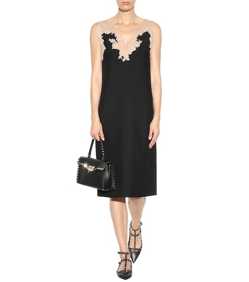 Valentino - Lace-trimmed virgin wool and silk dress - mytheresa.com
