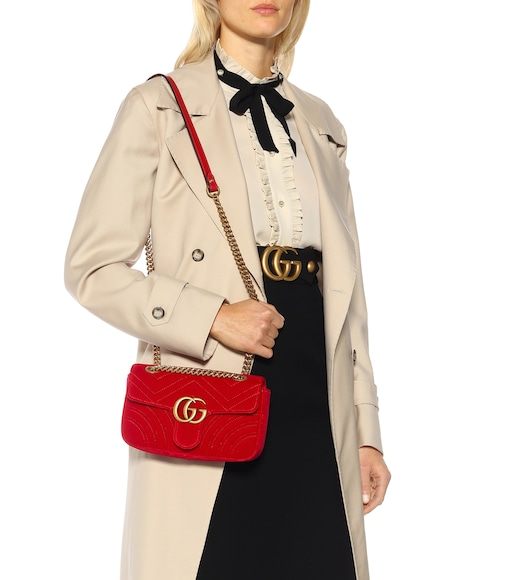 Gucci - GG Marmont Mini velvet shoulder bag - mytheresa.com