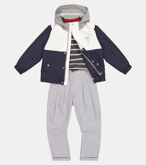 Brunello Cucinelli Kids - Striped stretch-cotton pants - mytheresa.com