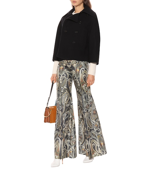 Chloé - High-rise flared silk-blend pants - mytheresa.com