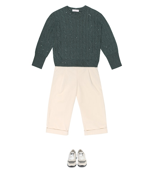 Brunello Cucinelli Kids - Sequined cashmere and silk sweater - mytheresa.com