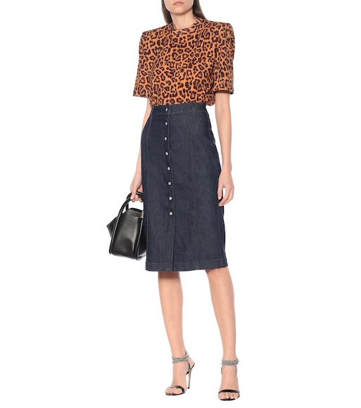 7 For All Mankind - Denim midi skirt - mytheresa.com