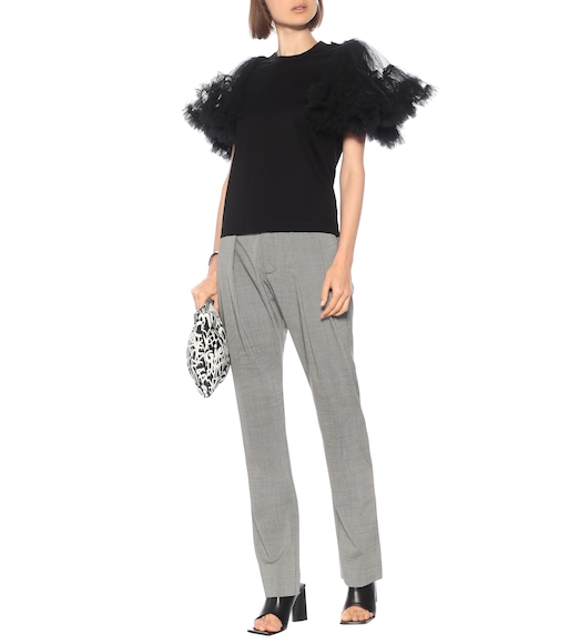 Noir Kei Ninomiya - Cotton and tulle top - mytheresa.com
