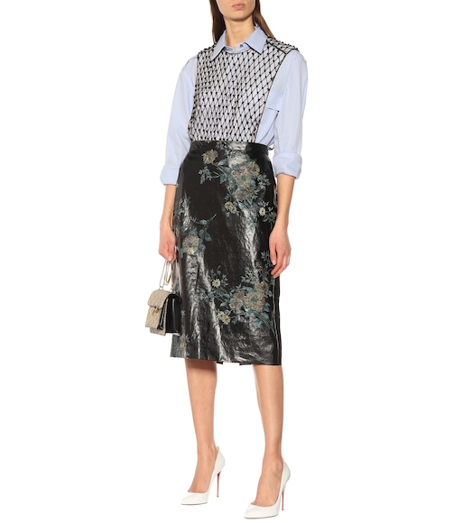 Dries Van Noten - Embroidered faux leather skirt - mytheresa.com