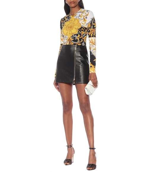 Versace - High-rise leather miniskirt - mytheresa.com
