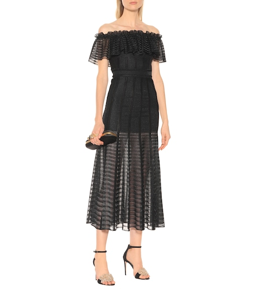 Alexander McQueen - Off-the-shoulder midi dress - mytheresa.com