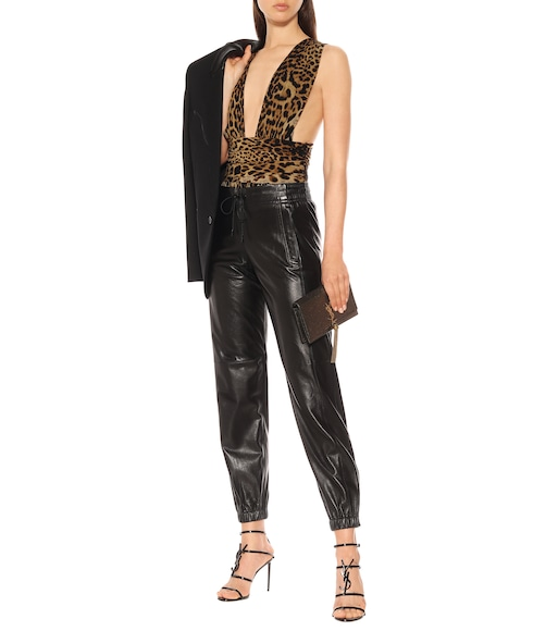 Saint Laurent - Bedruckter Body aus Seide - mytheresa.com
