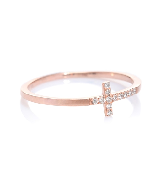 Sydney Evan - Elongated Cross 14kt rose gold ring with diamonds - mytheresa.com