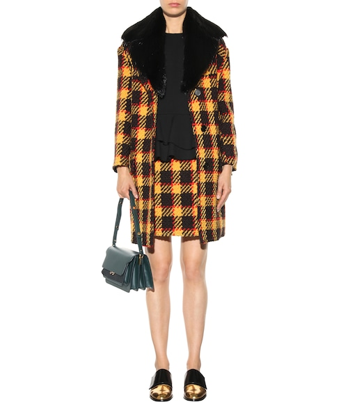 Marni - Fur-trimmed wool and cotton coat - mytheresa.com