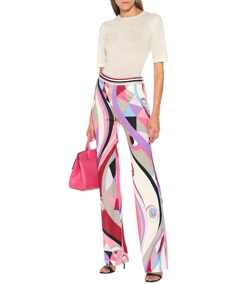 Emilio Pucci - Printed high-rise flared jersey pants - mytheresa.com