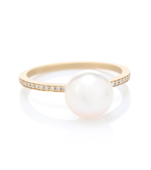 Sophie Bille Brahe - Lisa Pavé 14kt gold ring with pearl and diamonds - mytheresa.com