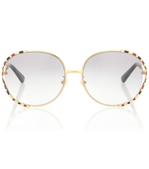 Gucci - Striped oval sunglasses - mytheresa.com