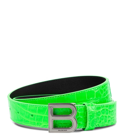 Balenciaga - Hourglass croc-effect leather belt - mytheresa.com