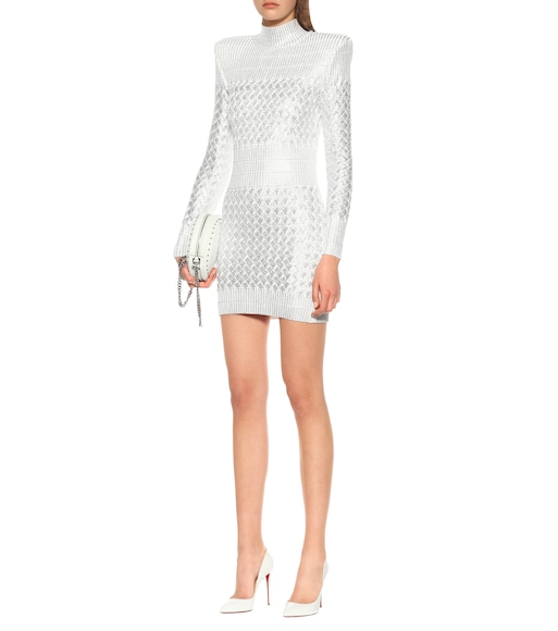 Balmain - Knitted metallic minidress - mytheresa.com