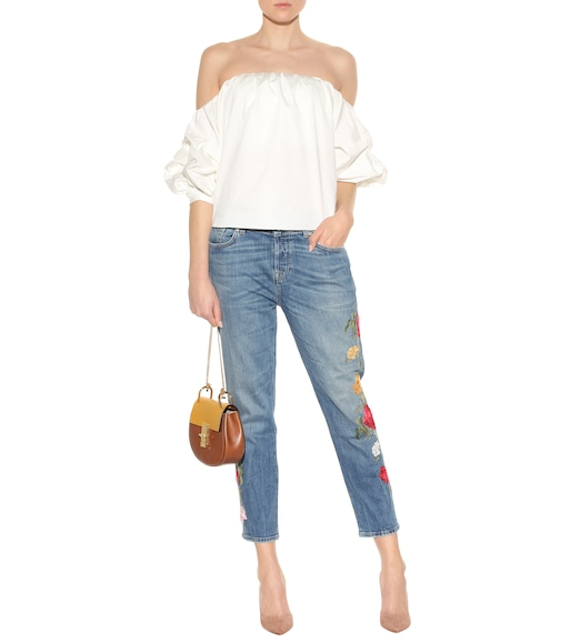7 For All Mankind - Josefina Crop embroidered jeans - mytheresa.com