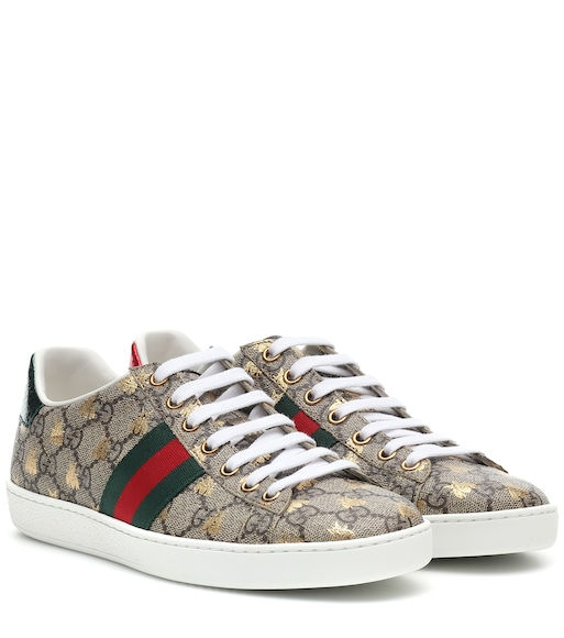 Gucci - Ace leather-trimmed printed sneakers - mytheresa.com