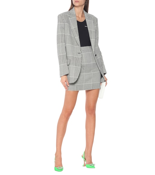 Off-White - Houndstooth high-rise miniskirt - mytheresa.com
