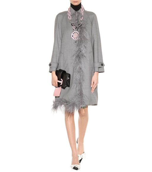 Prada - Embellished wool and silk coat - mytheresa.com