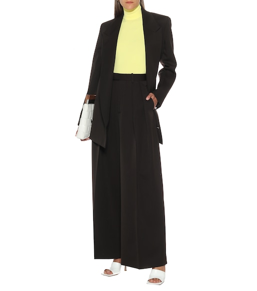 Bottega Veneta - High-rise wool wide-leg pants - mytheresa.com