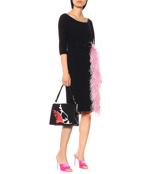 Prada - Feather-trimmed crêpe dress - mytheresa.com