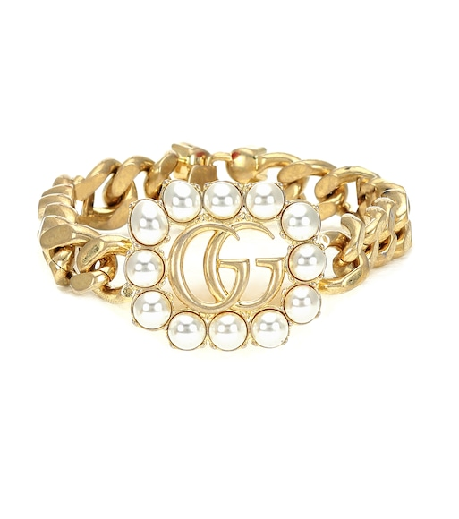 Gucci - Double G chain-link bracelet with faux pearls - mytheresa.com