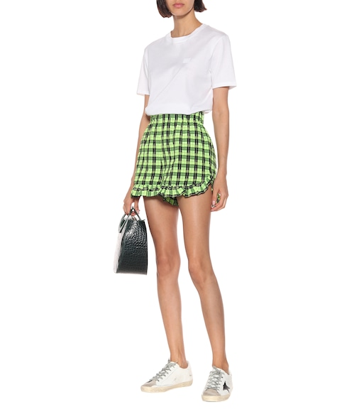 Ganni - Checked cotton-blend shorts - mytheresa.com