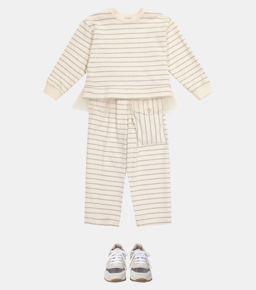 Brunello Cucinelli Kids - Tulle-trimmed striped sweater - mytheresa.com