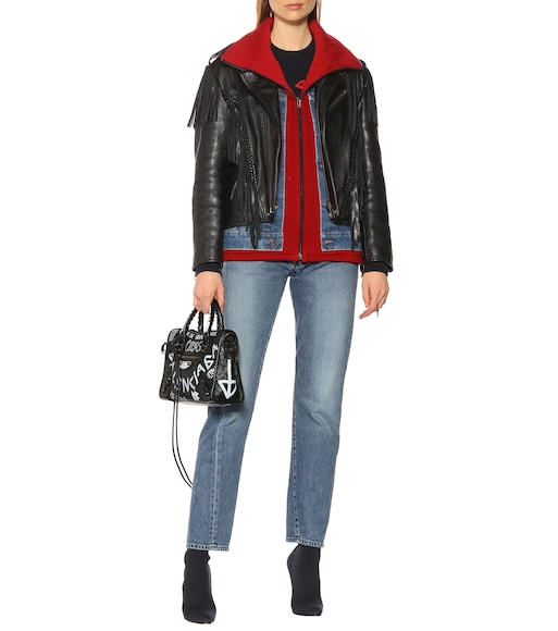 Balenciaga - Denim-trimmed leather jacket - mytheresa.com