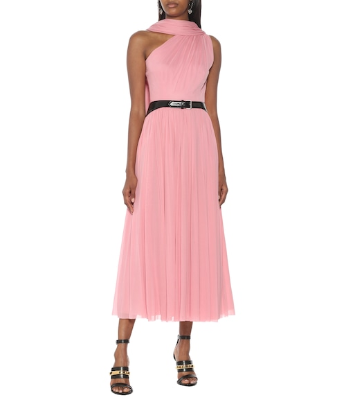 Alexander McQueen - One-shoulder tulle midi dress - mytheresa.com