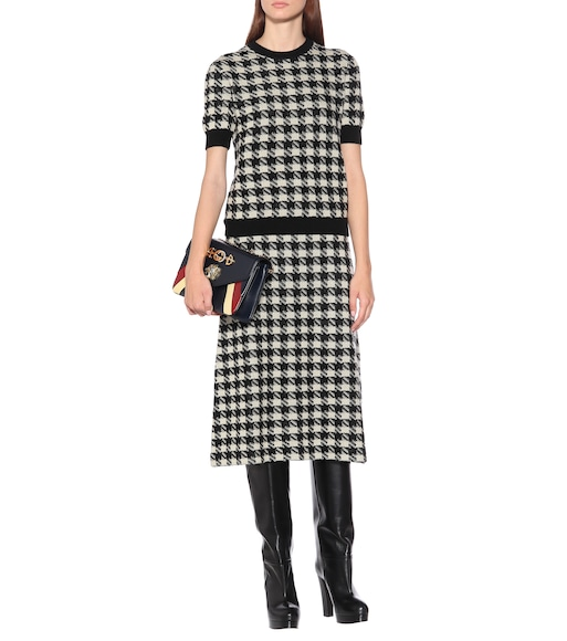 Gucci - Houndstooth cashmere and silk top - mytheresa.com