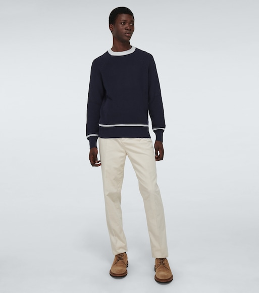 Brunello Cucinelli - Stripe-detailed cotton sweater - mytheresa.com