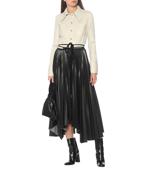 Nanushka - Beeja pleated faux leather midi skirt - mytheresa.com