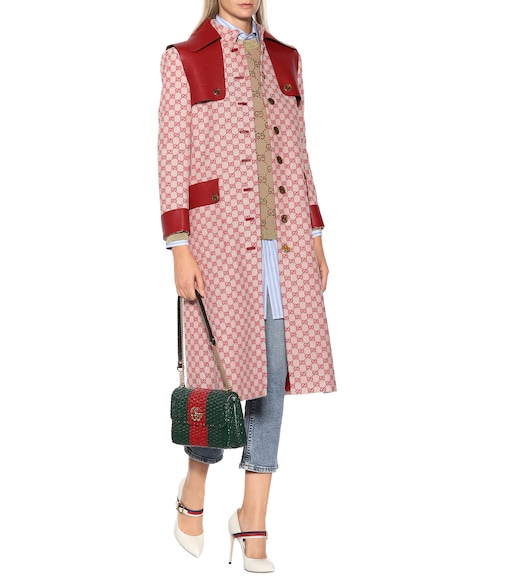 Gucci - GG leather-trimmed trench coat - mytheresa.com