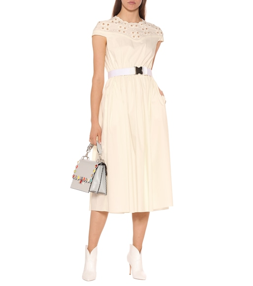 Fendi - Embroidered cotton midi dress - mytheresa.com