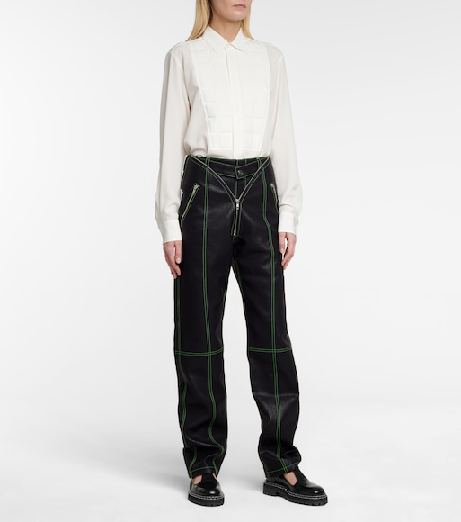 Y/PROJECT - Straight faux leather pants - mytheresa.com